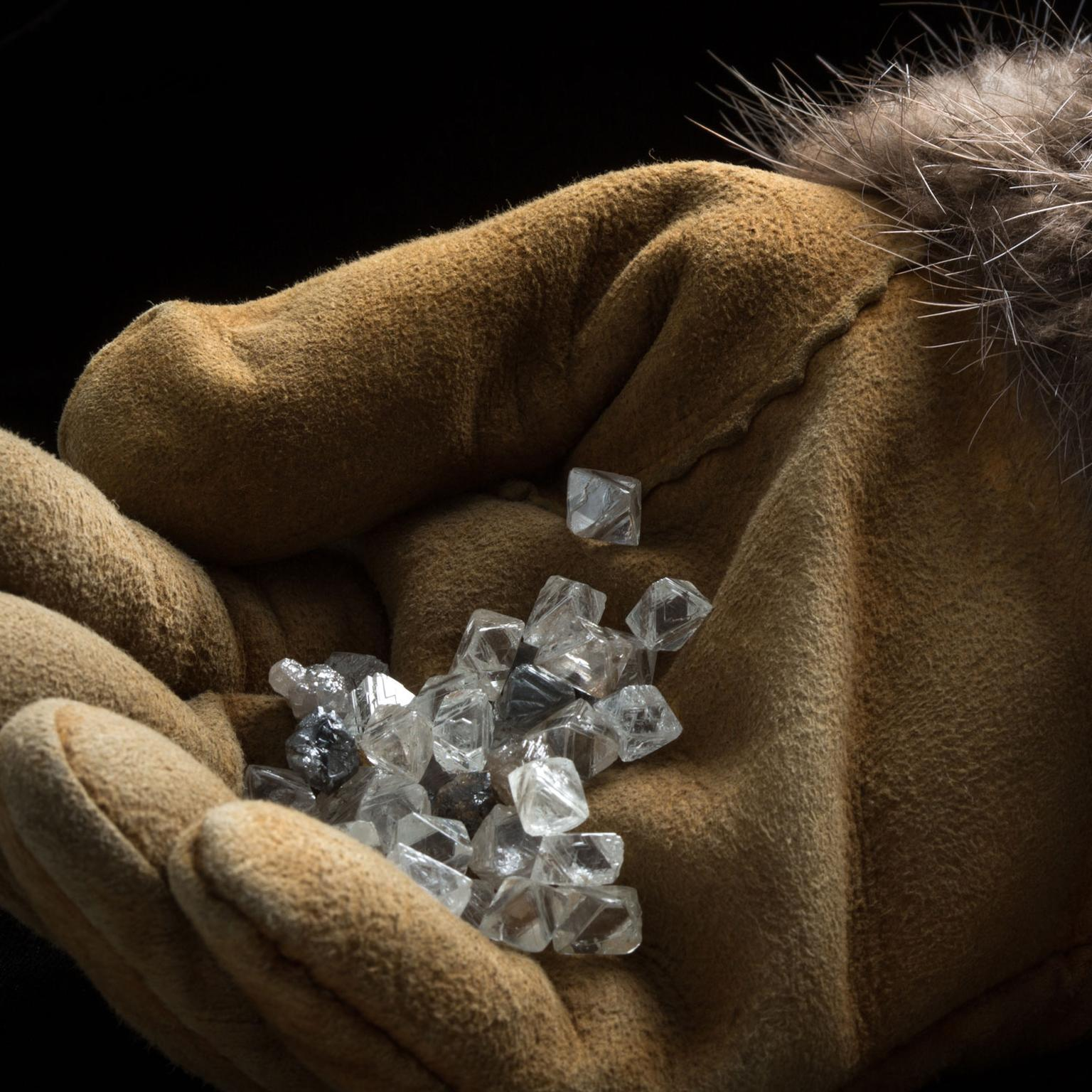 Rough diamonds from the Diavik diamond mine in Canada