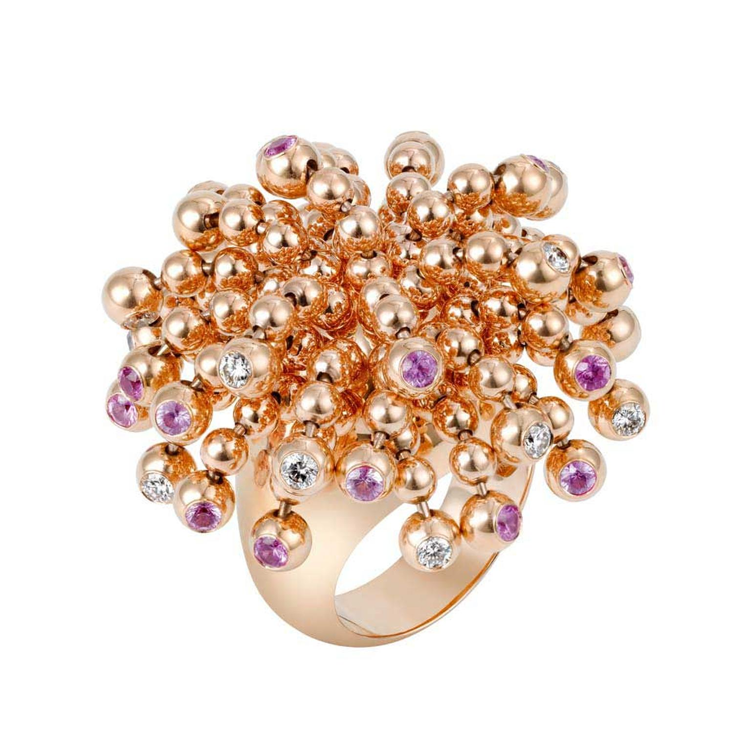 Cartier Paris Nouvelle Vague Sparkling pink gold ring with diamonds and pink sapphires