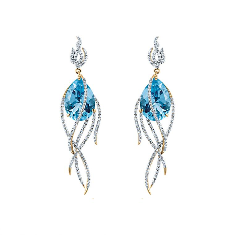 Galaxy Comet blue topaz earrings with diamonds