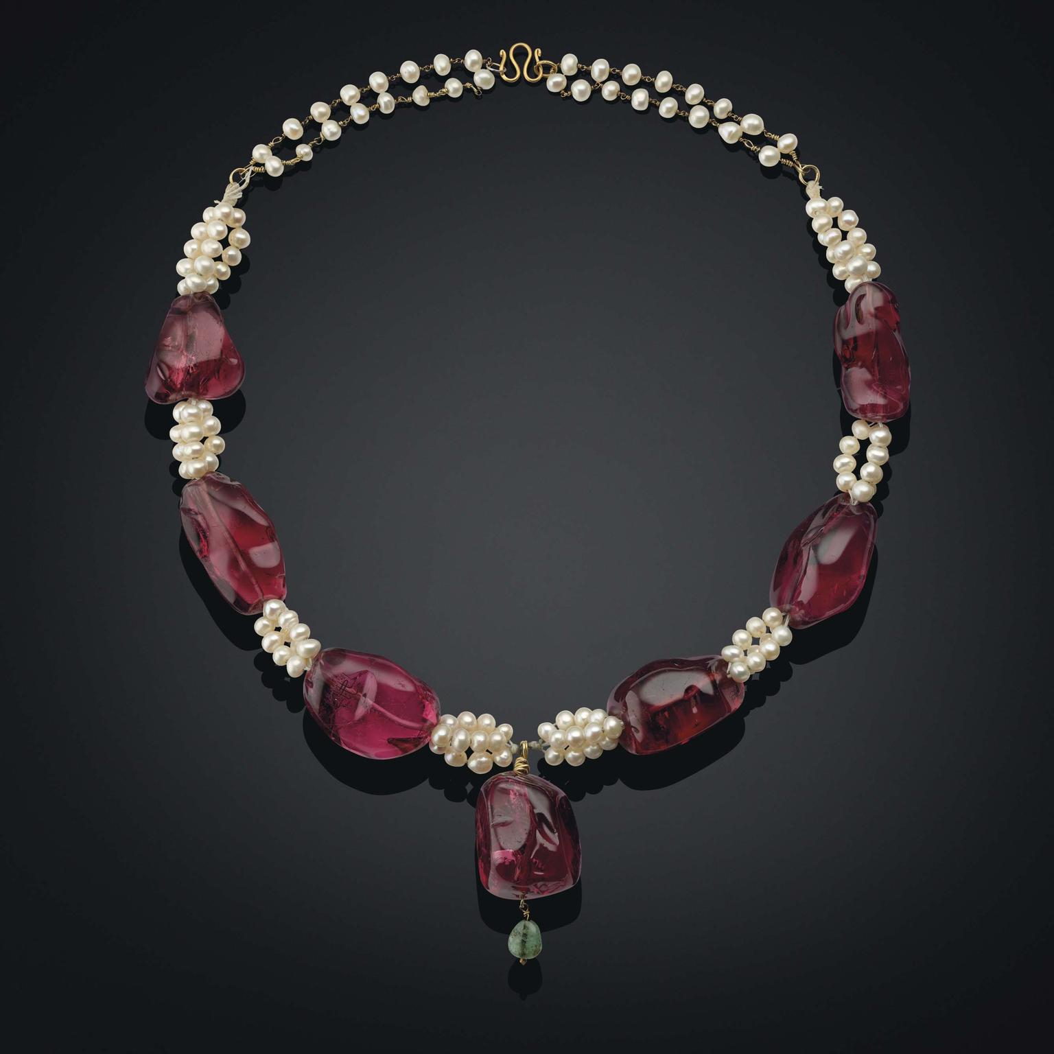 An Antique Imperial Spinel, Pearl and Emerald Necklace