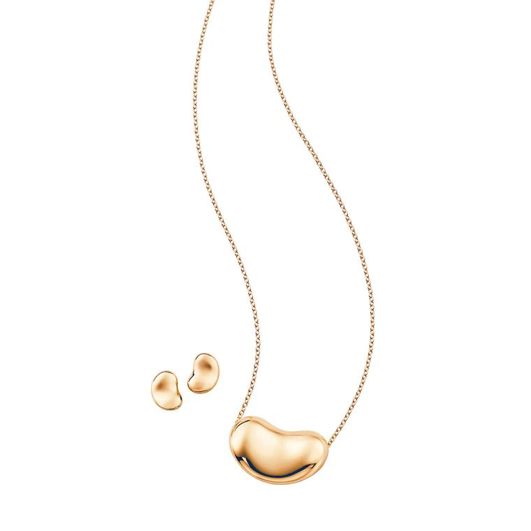 Elsa Peretti Bean necklace and earrings