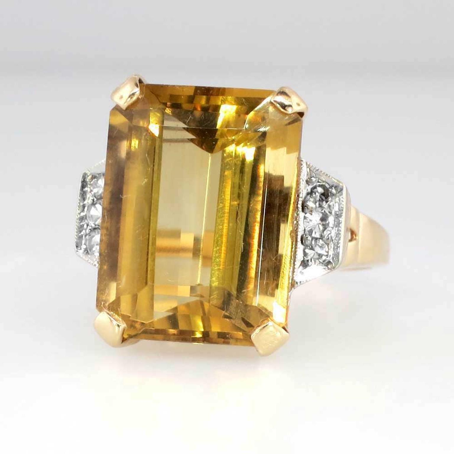 Jewelry Finds 1940s emerald-cut citrine cocktail ring
