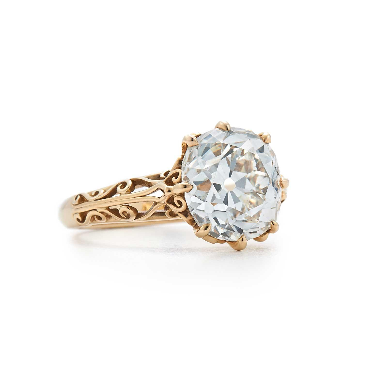 Fred Leighton old mine-cut diamond filigree solitaire ring