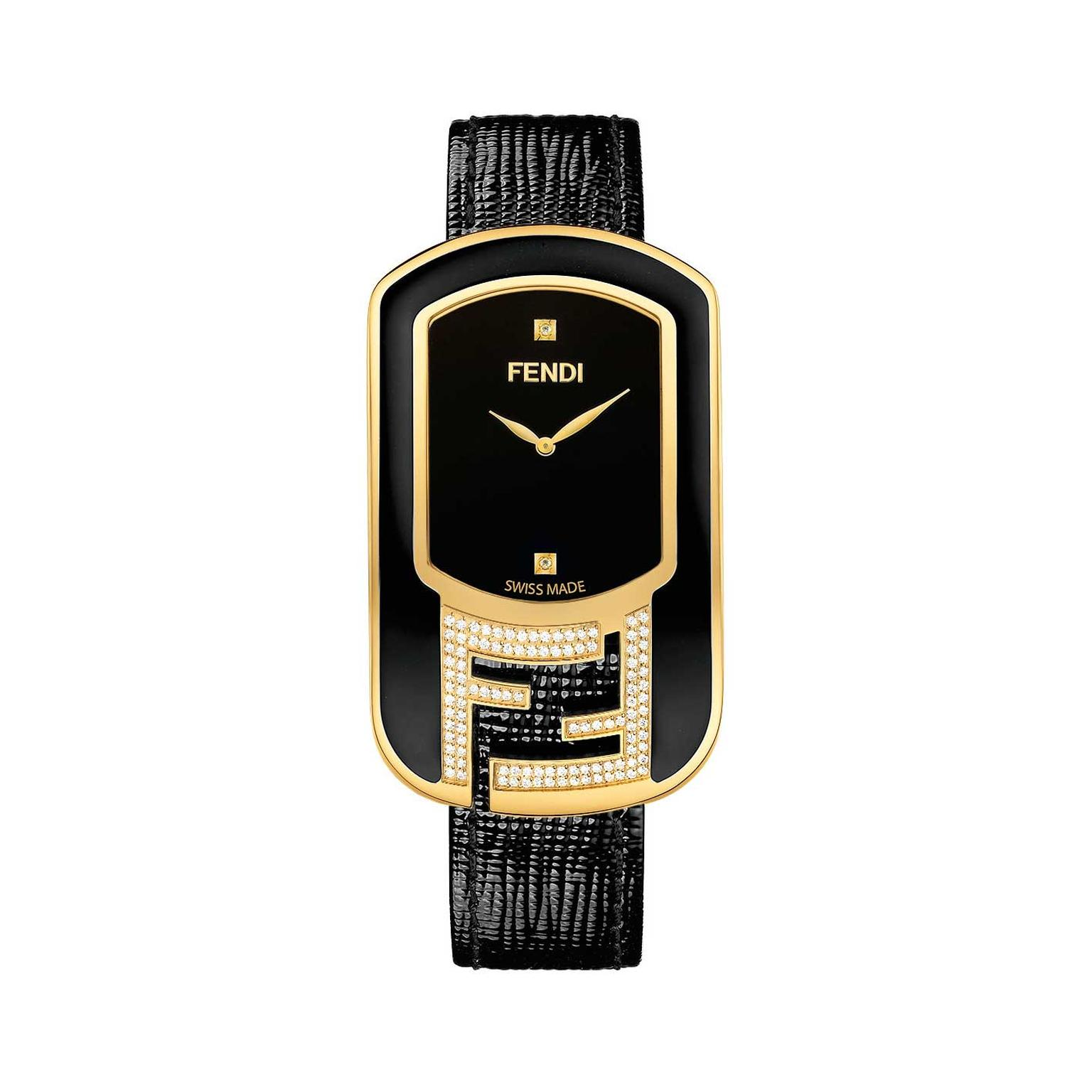 Fendi Chameleon diamond watch with black laquered dial