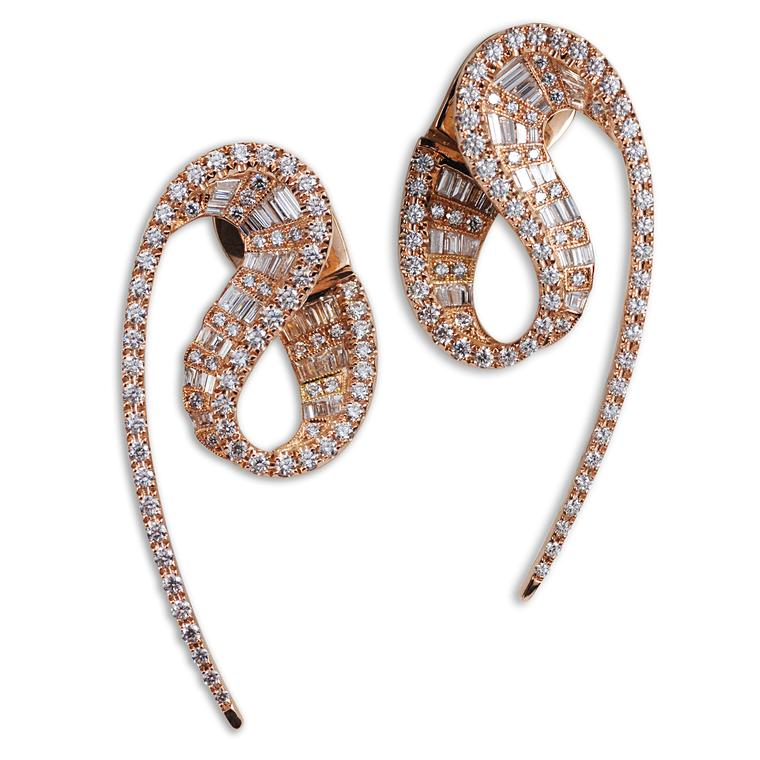 Wave rose gold and diamond earrings