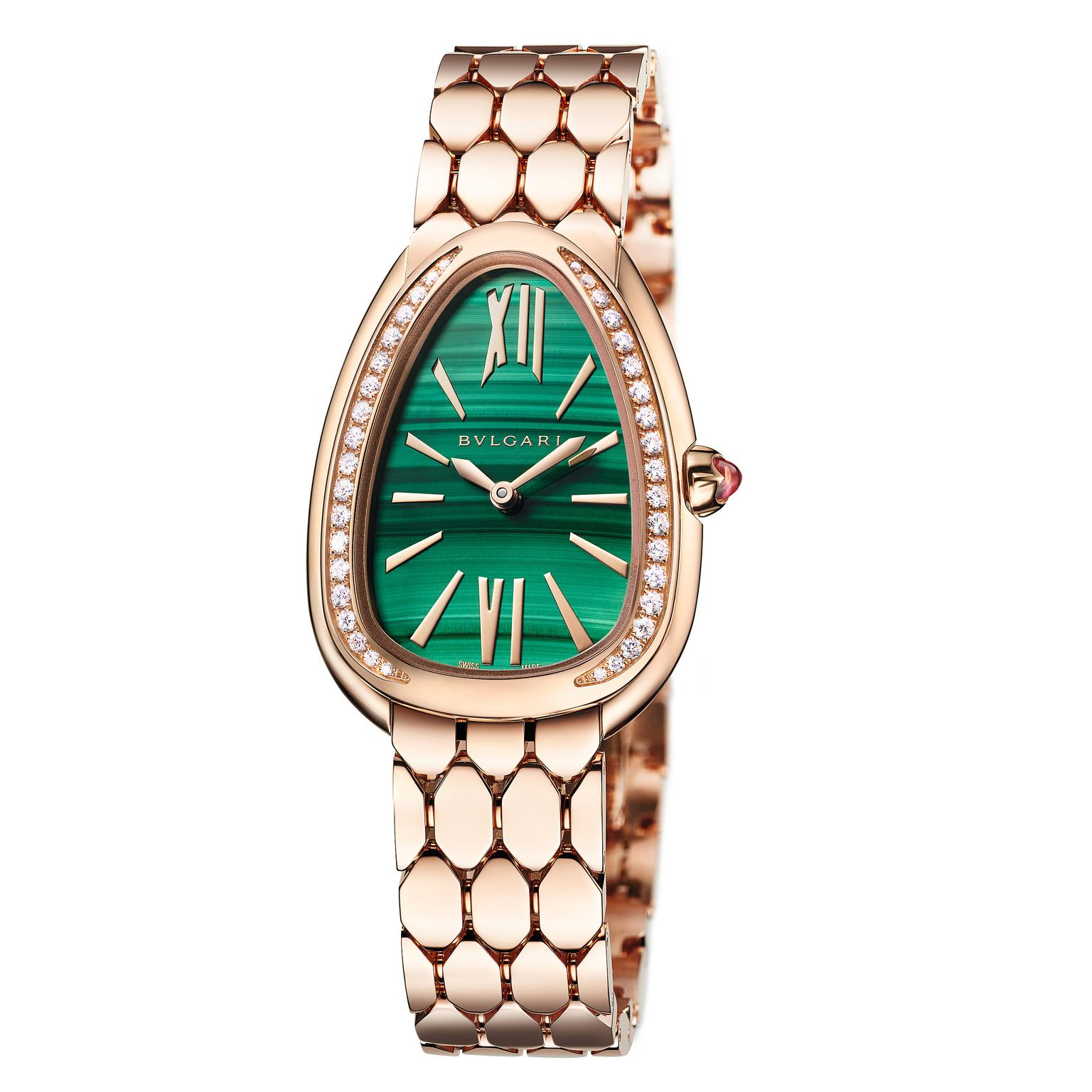 Bulgari Serpenti Seddutori rose gold watch with scale-like bracelet links