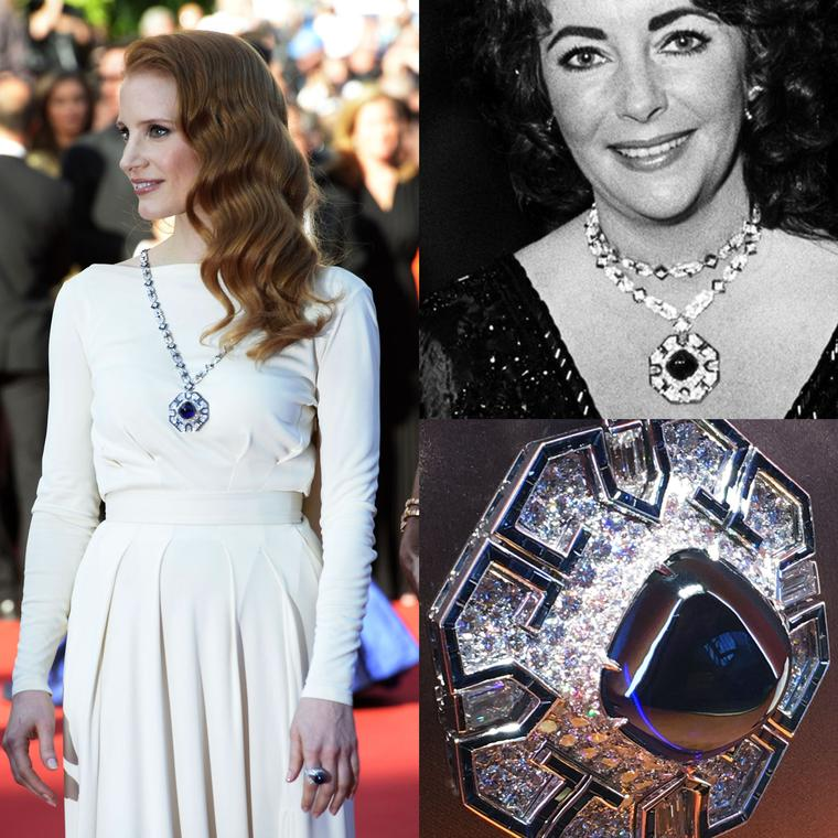 Jessica Chastain and Elizabeth Taylor wearing Taylor's Bulgari sugarloaf sapphire necklace