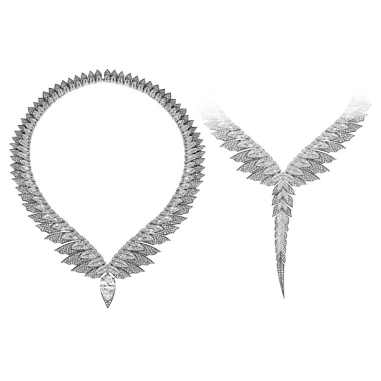 Magnipheasant diamond feather necklace