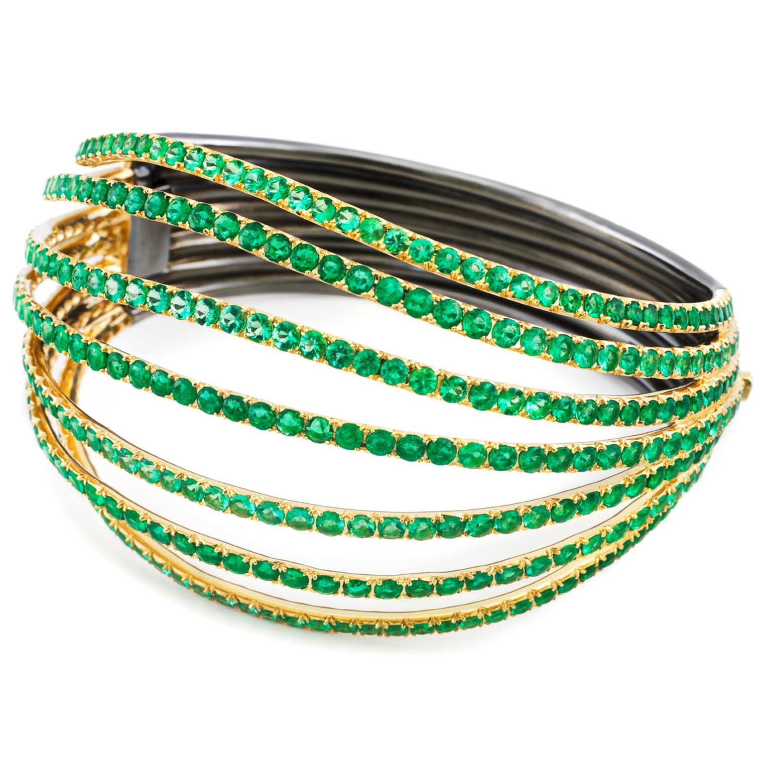 AENEA-Waves-Bangle-Emeralds