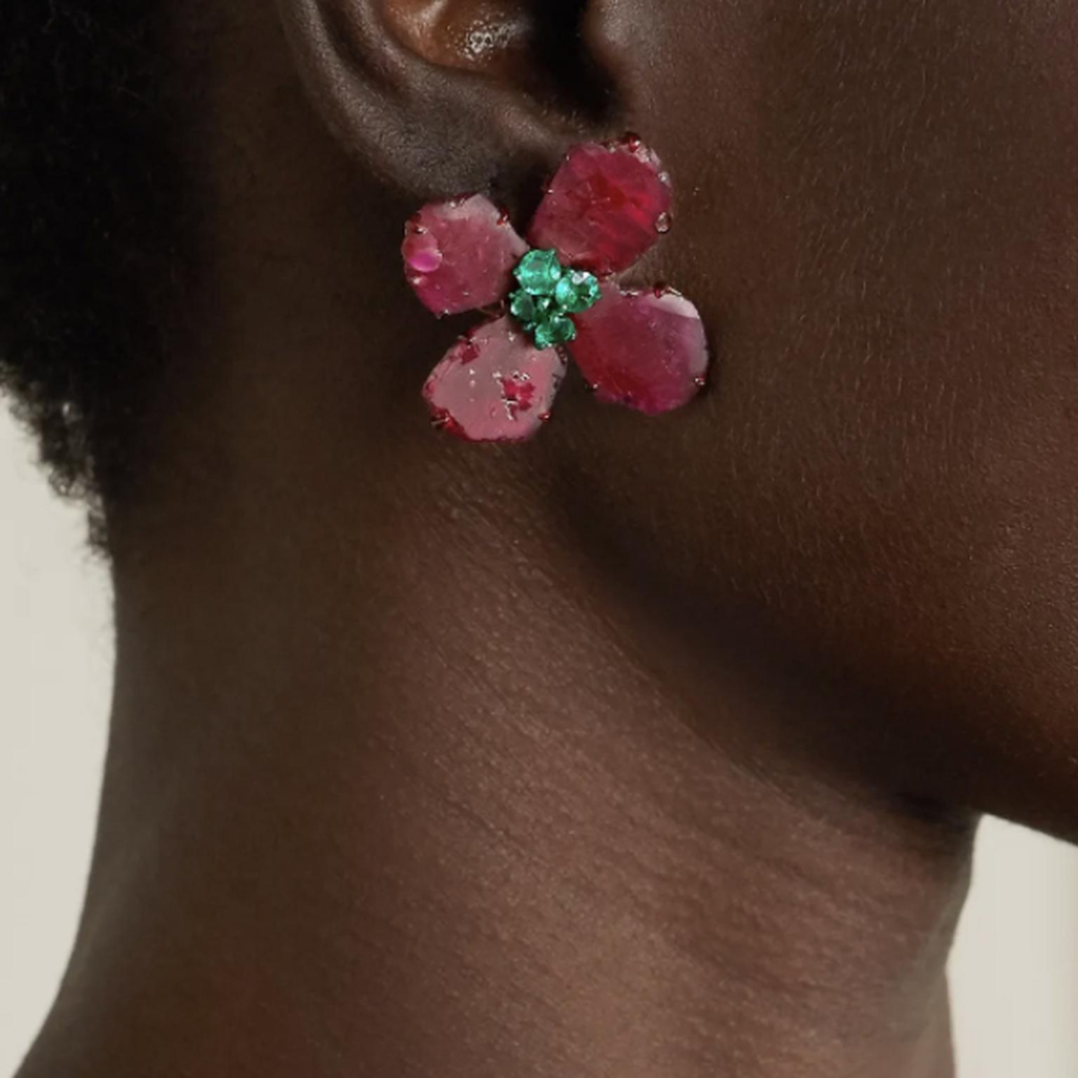 Earrings by Bina Goenka on model