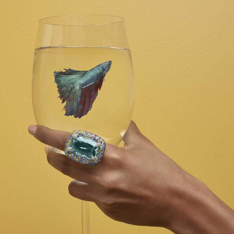 Margot McKinney Aquamarine and Paraiba tourmaline Cocktail Ring