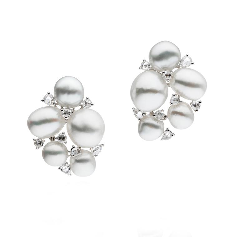 Autore rose-cut diamond and keshi pearl earrings