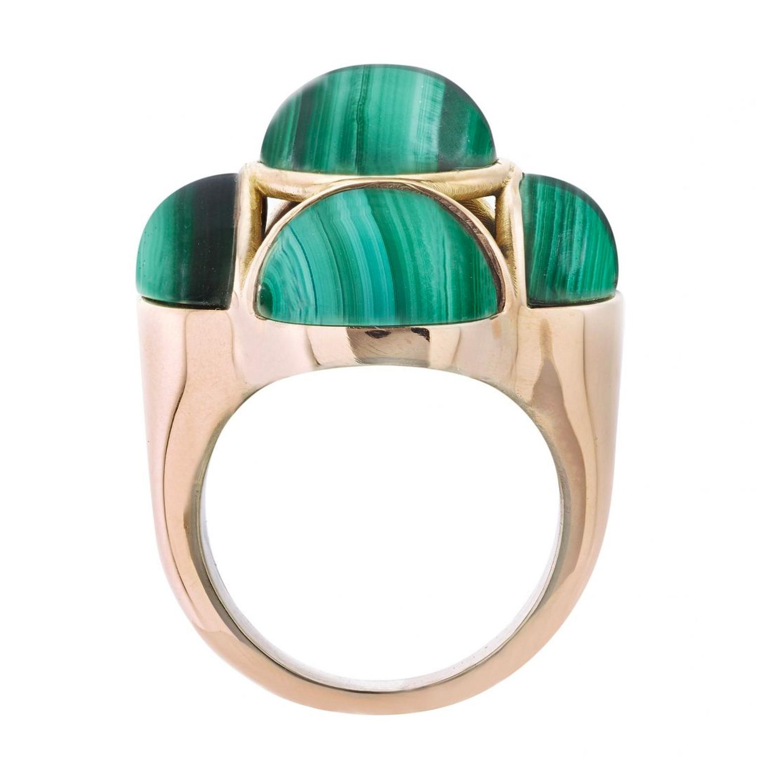 Garaude Byzantium malachite cocktail ring