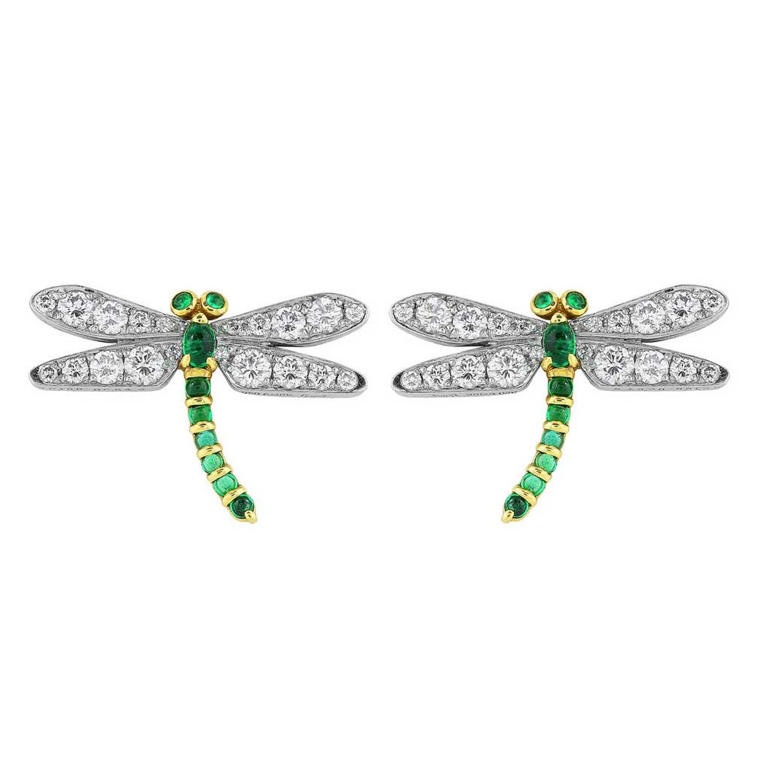 Shreve, Crump & Low emerald and diamond dragonfly earrings