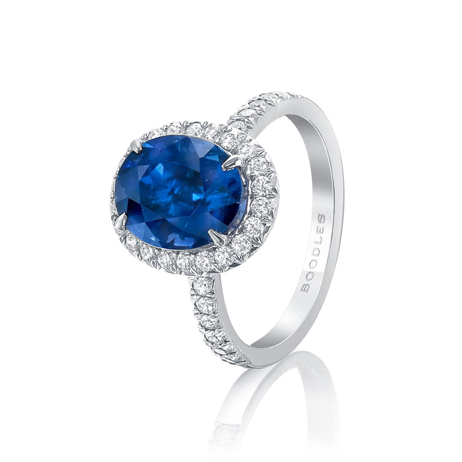 Boodles New Vintage oval-cut sapphire engagement ring with diamonds