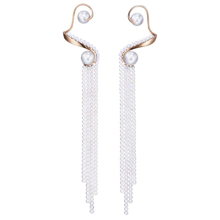 Tasaki Atelier Waterfall Akoya pearl and gold earrings