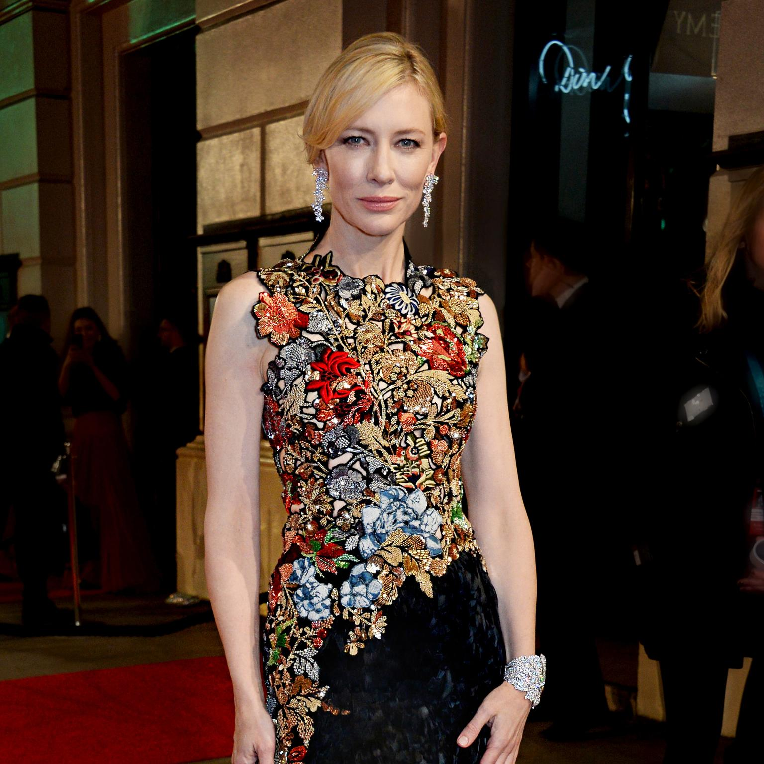 Cate Blanchett wearing tiffany earrings and bracelet