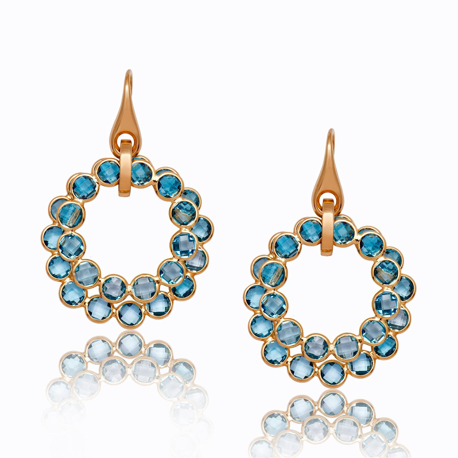 gold topaz earrings blue stud in with white