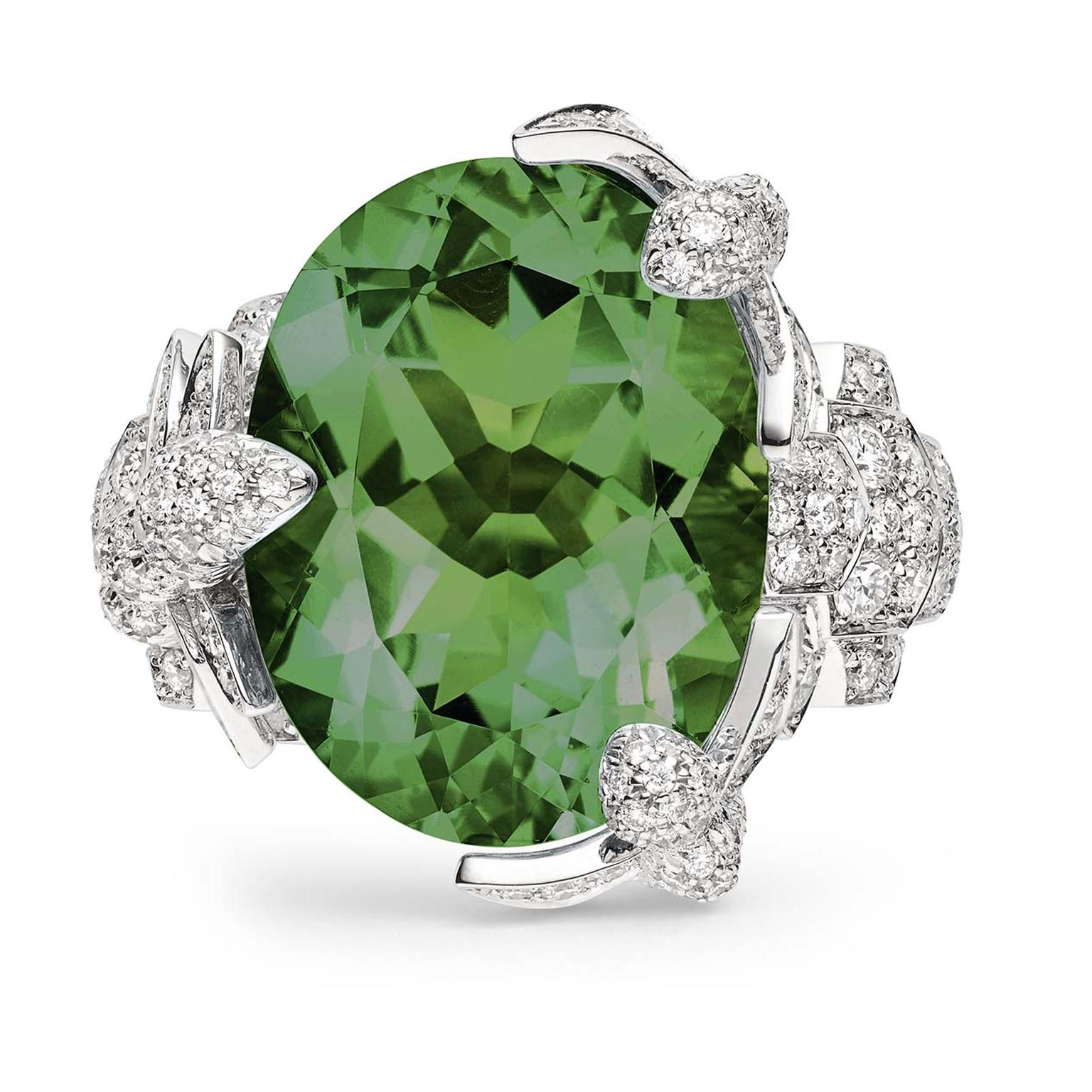 Engagement ring with tourmaline and diamonds from Chaumet
