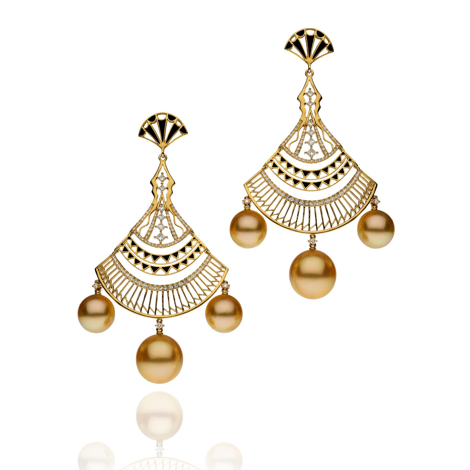 Autore Metropolitan enamel and golden pearl earrings