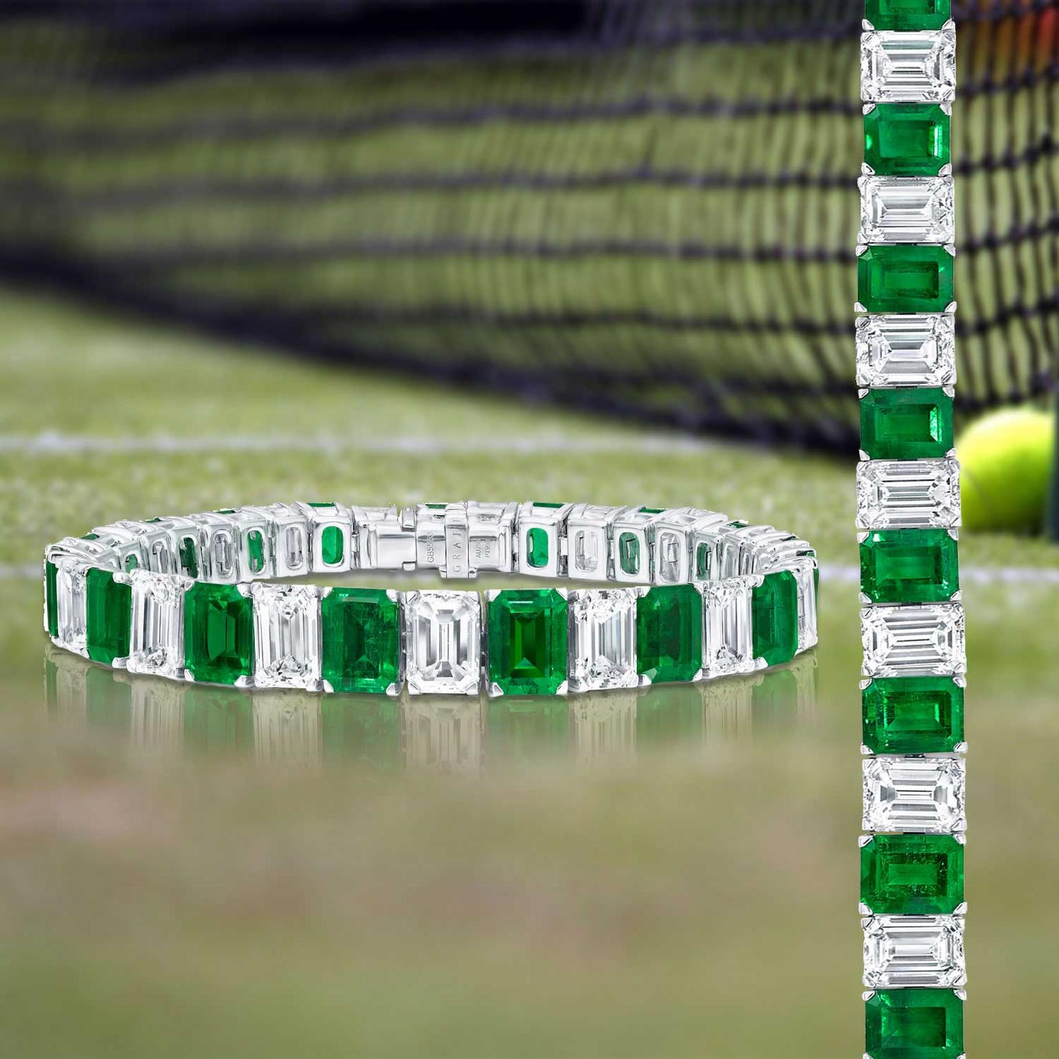 Graff Diamonds diamond and emerald tennis bracelet on court