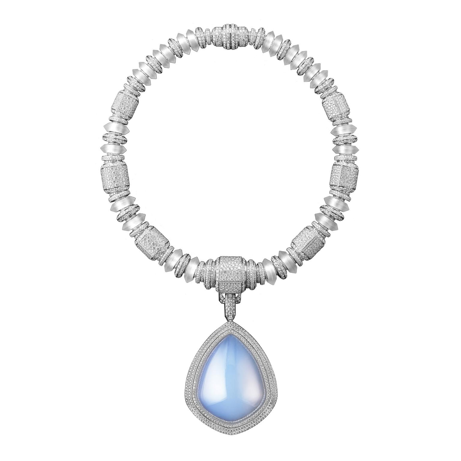 Boucheron Necklace Goutte de Ciel - aerogel, diamonds, rock crystal copy