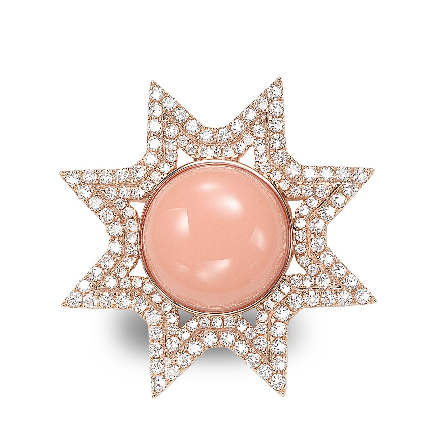 Octium Sun Collection rose gold Sun coral and diamond brooch