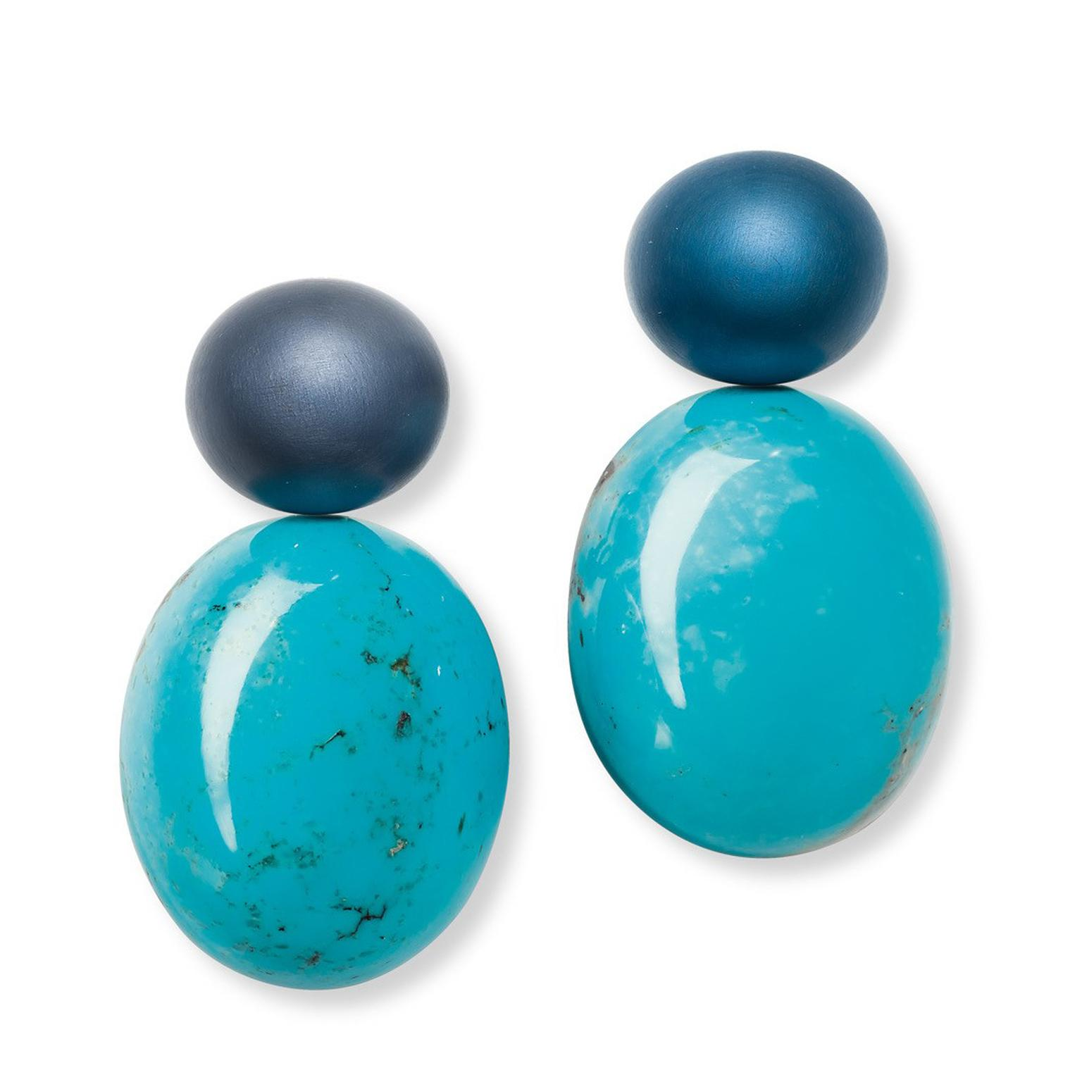 Hemmerle turquoise and blue aluminium earrings