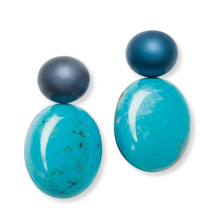 Turquoise and blue aluminium [AL] Project earrings