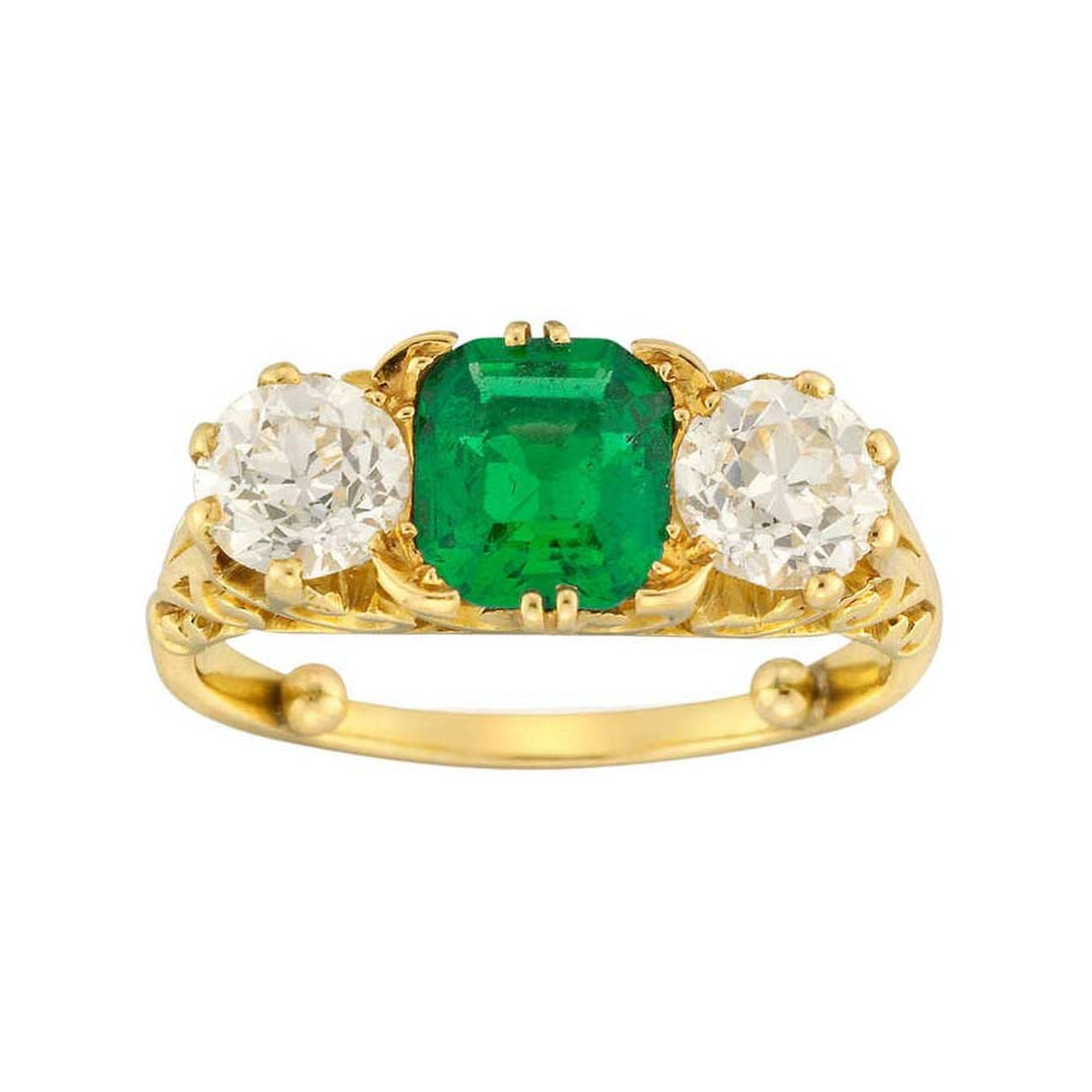 Bentley Skinner emerald diamond ring