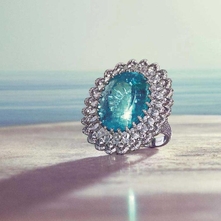 Chopard oval Paraiba tourmaline and diamond ring