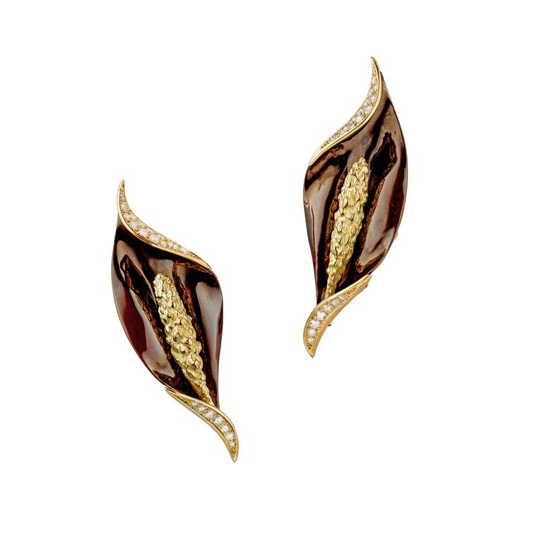 Chaumet Arum flower clip earrings
