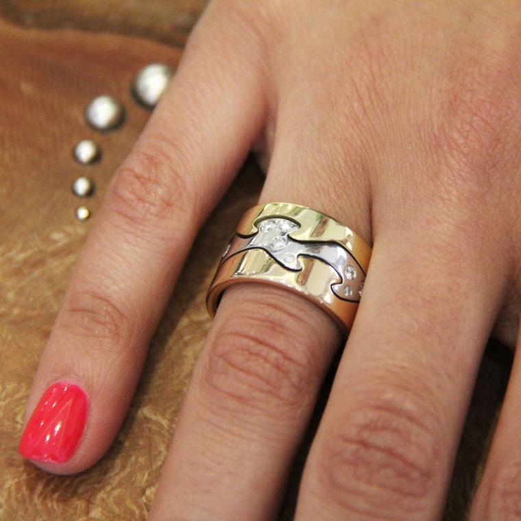 Fusion white and yellow gold ring stack with diamonds