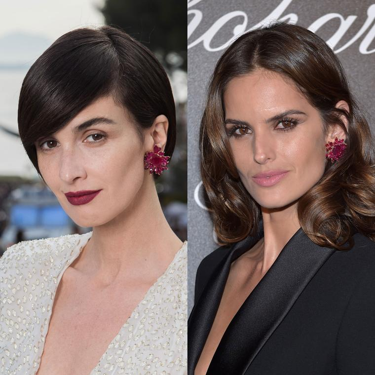 Paz Vega and Izabel Goulart wear the same Chopard ruby earrings on the red carpet at the Cannes Film Festival