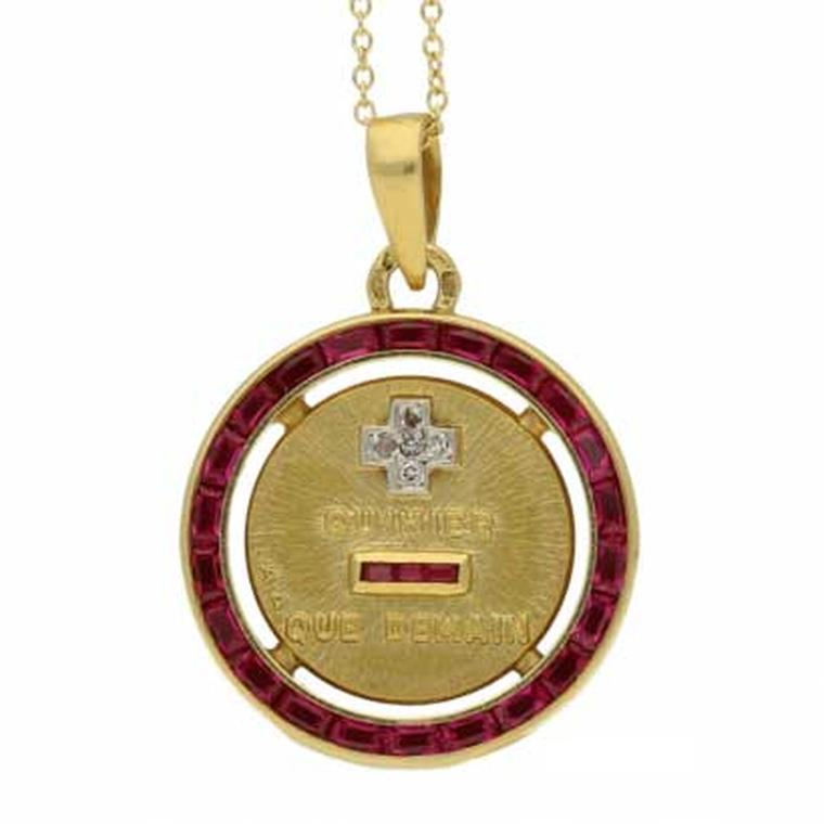 Berganza pendant with diamonds and synthetic rubies