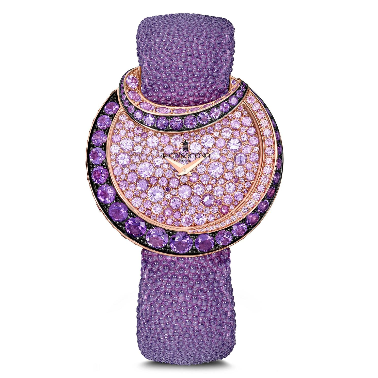 de GRISOGONO Luna watch with amethysts and pink sapphires