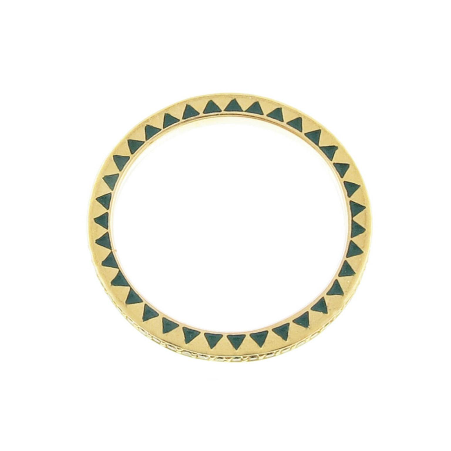 Foundrae diamond and enamel eternity ring in yellow gold