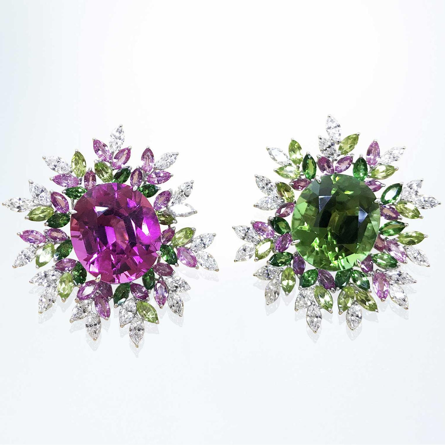 Margot McKinney rubellite and tourmaline earrings