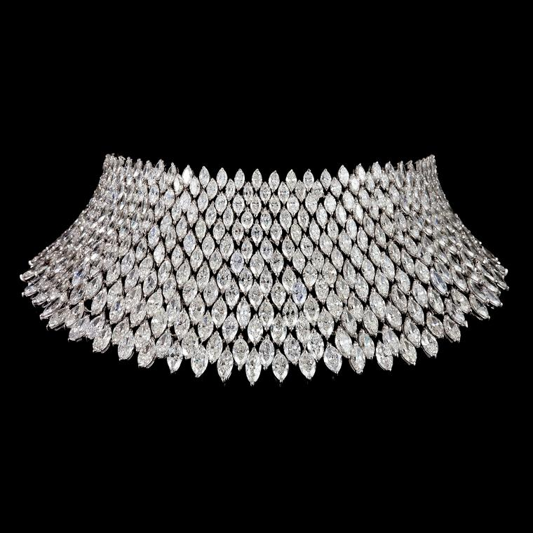 Bayco diamond choker necklace set with 218 carats of marquise diamonds