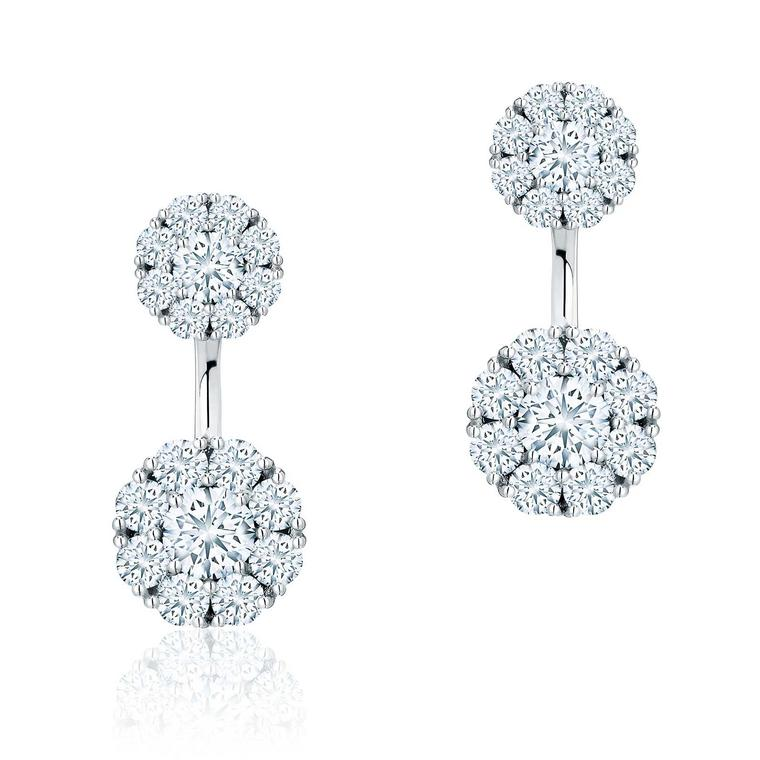 Snowflake large round diamond jacket earrings