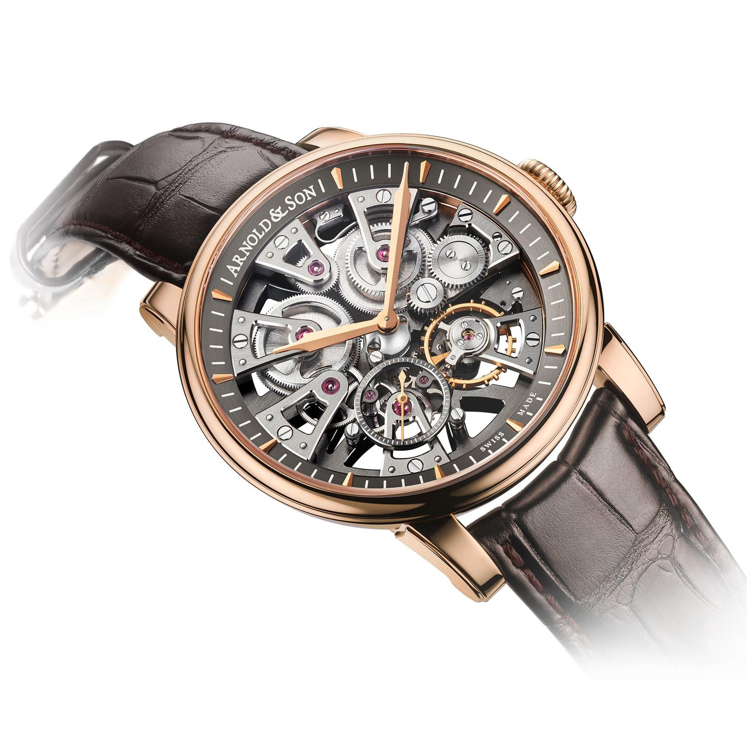 Arnold & Son Nebula red gold watch