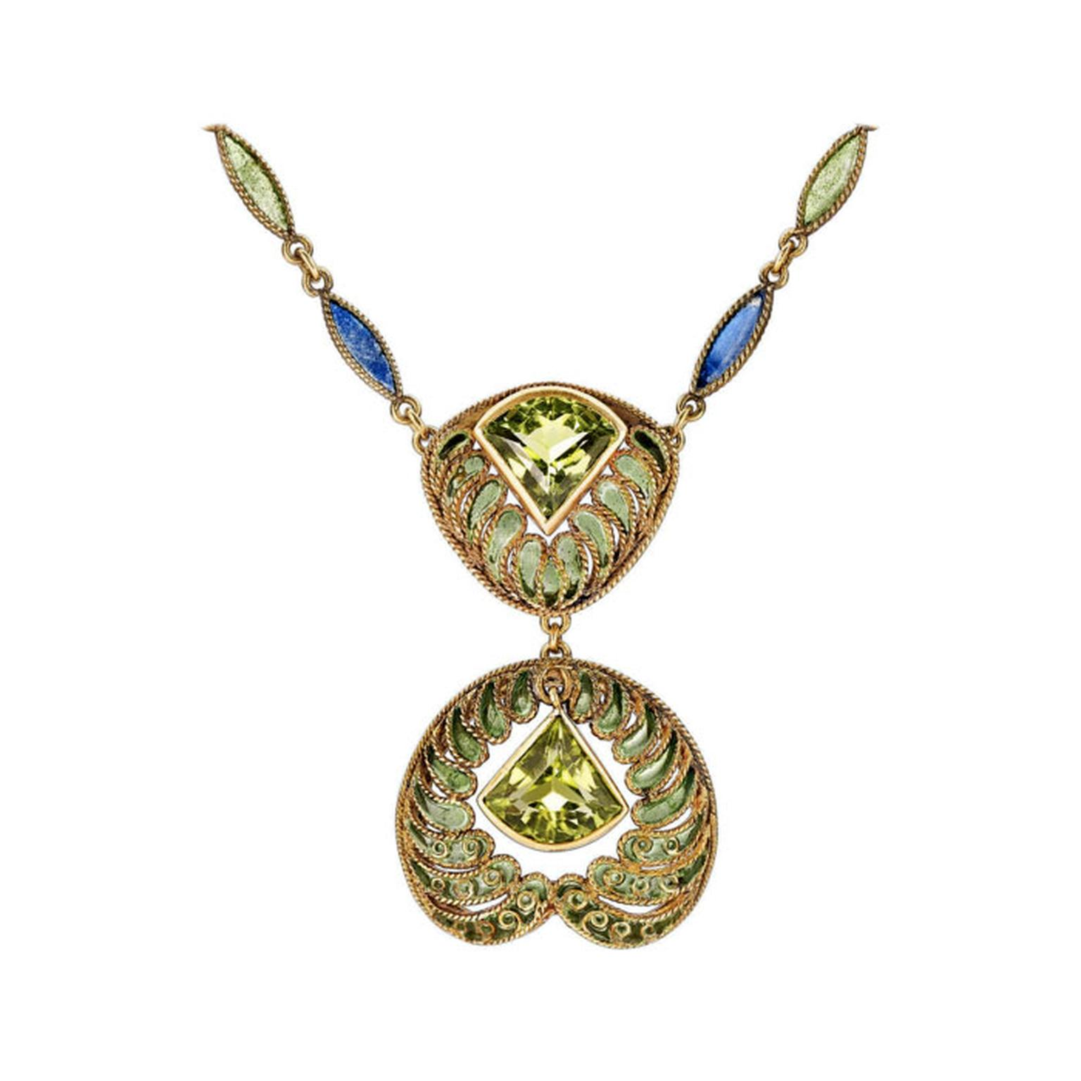 Tiffany & Co. enamel peridot necklace from 1stdibs