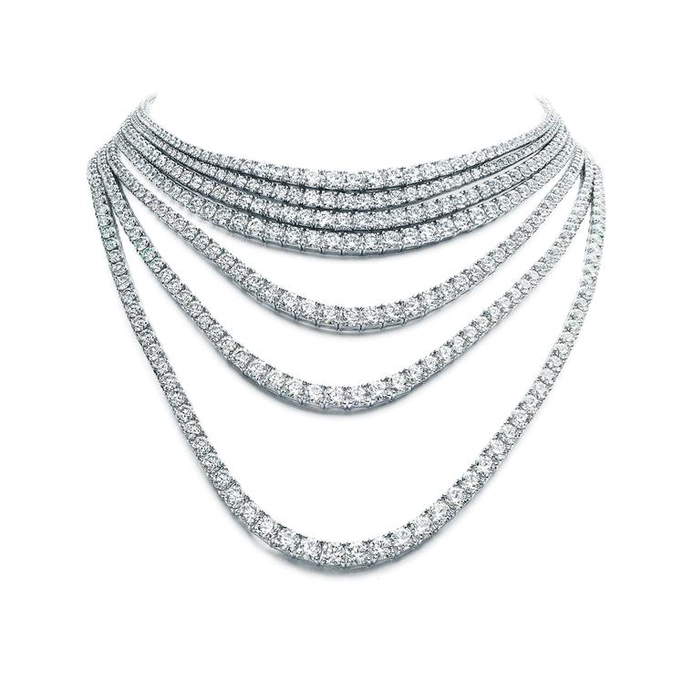 Masterpieces convertible seven strand diamond necklace