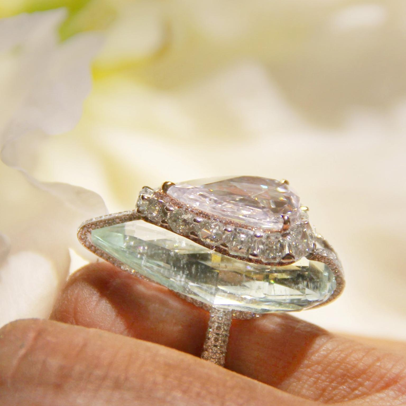 Boghossian pink diamond and beryl kissing ring