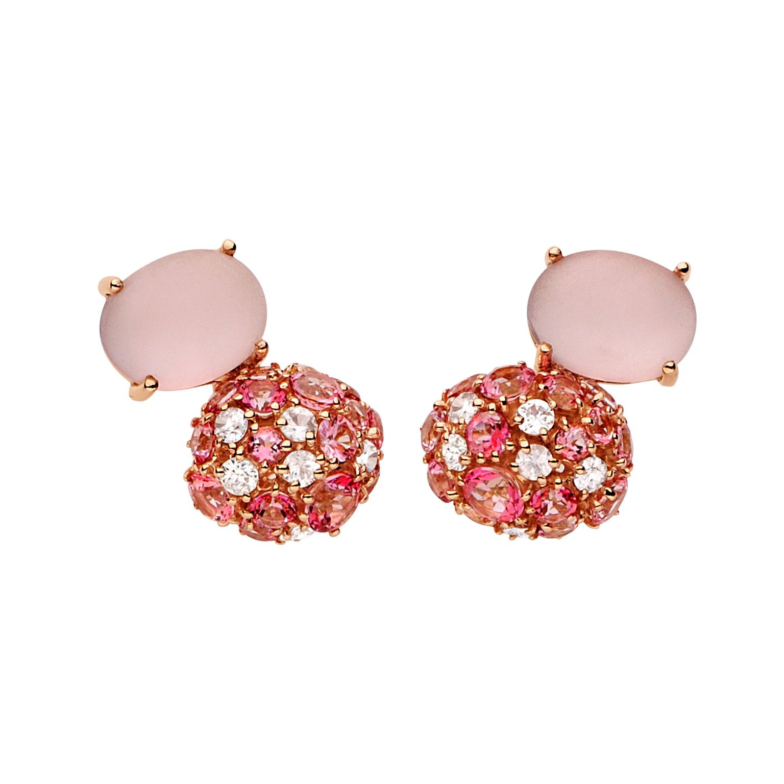 Brumani Baobab Bubbles rose gold, diamond and rose quartz earrings