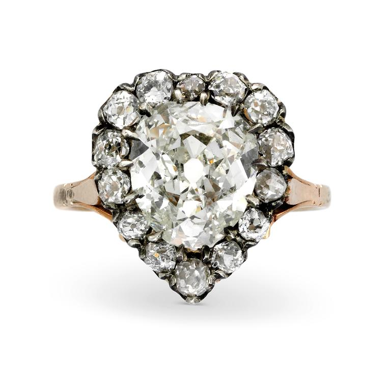 Simon Teakle single mine-cut diamond heart ring