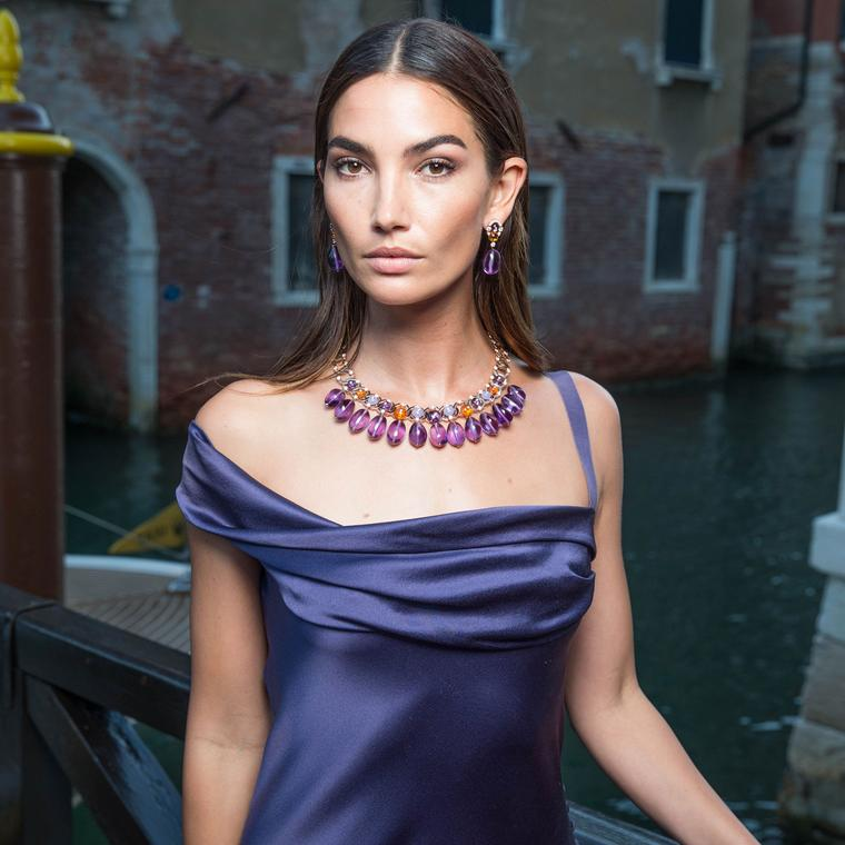Lily Aldridge in Bulgari Festa high jewellery necklace