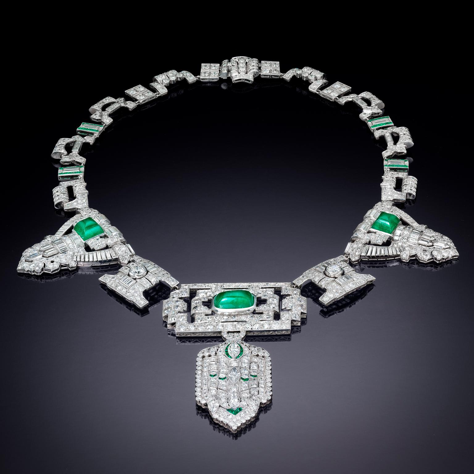Jackie Collins' emerald, diamond and platinum necklace