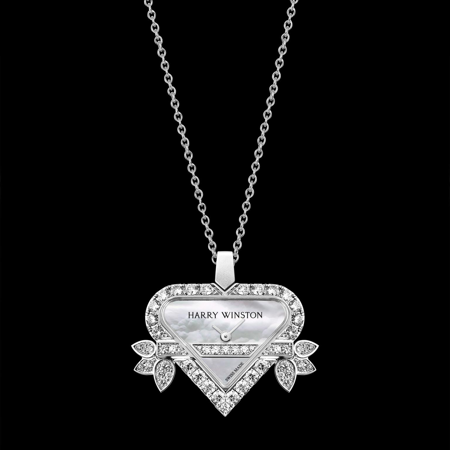 Harry Winston Rosebud white gold heart pendant watch.