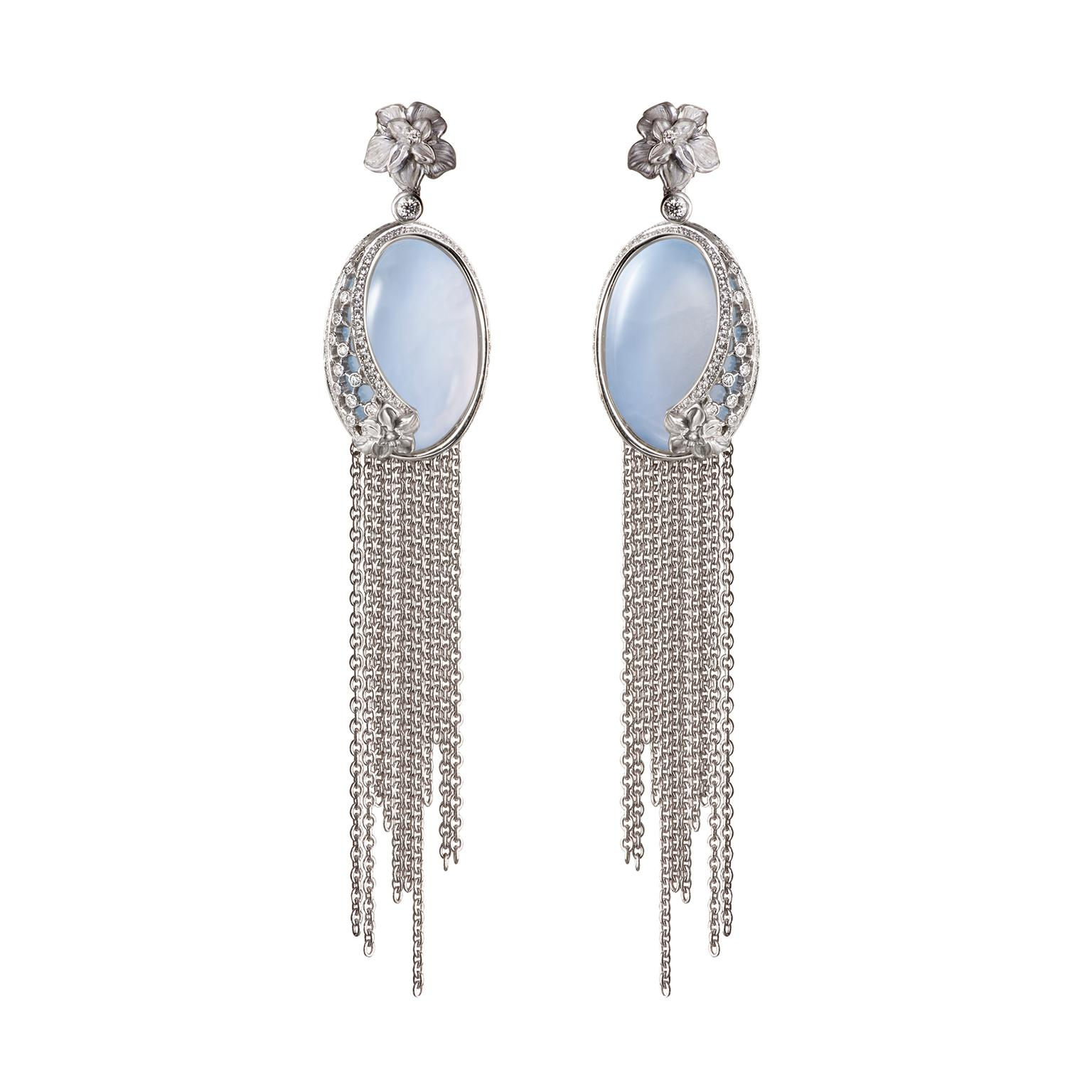 Carrera y Carrera Sierpes chalcedony diamond maxi fringe earrings